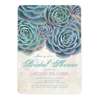 """Blue Succulents Country Bridal Shower 5"""" X 7"""" Invitation Card"""