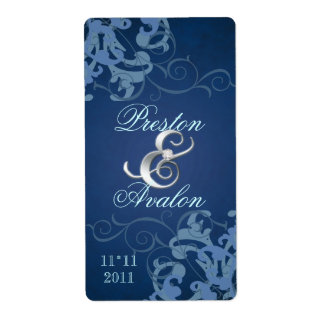 Blue Swirl Silver Jeweled Wedding Wine Label Shipping Label