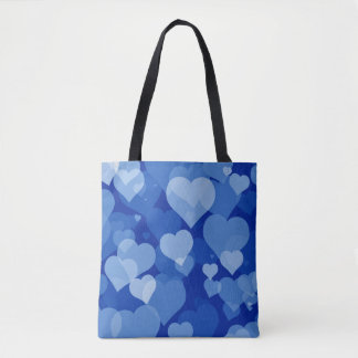 Blue Valentine Hearts All-Over-Print Tote Bag