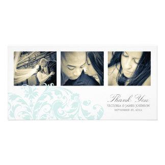 BLUE & WHITE FLOURISH   WEDDING THANK YOU CARD PHOTO CARD TEMPLATE
