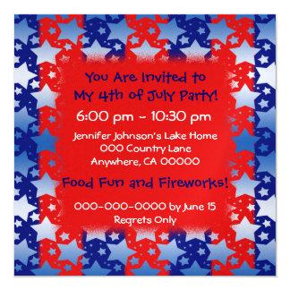 "Blue White Stars Red Blue Stripes 5.25"" Square Invitation Card"