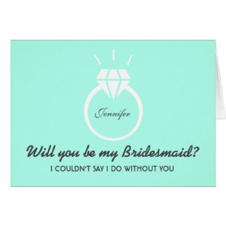 Blue Will You Be My Bridesmaid Invitation Greeting Card