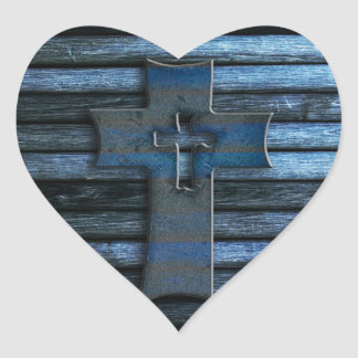 Blue Wooden Cross Heart Sticker