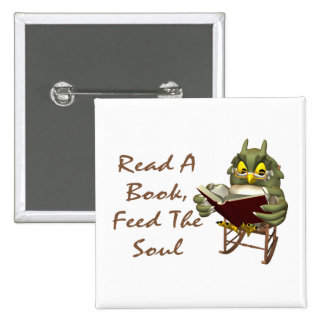 Books Feed The Soul Wise Owl 2 Inch Square Button