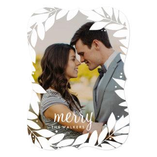"Botanical Frame Newlywed Holiday Photo Card 5"" X 7"" Invitation Card"