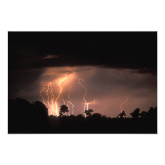 Botswana, Moremi Game Reserve, Lightning fills Art Photo