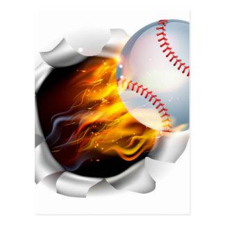Boule flamboyante de base-ball déchirant un trou cartes postales