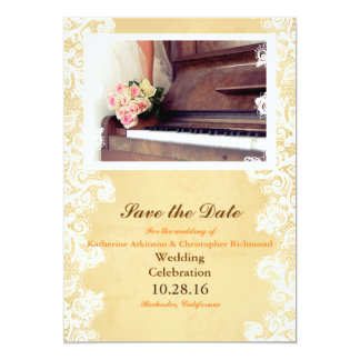"bouquet of flowers,bride and piano 5"" x 7"" invitation card"