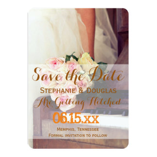 "bouquet of flowers,bride and piano/Save The Date 5"" X 7"" Invitation Card"