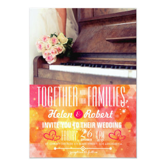 "bouquet of flowers,bride and the piano 5"" x 7"" invitation card"
