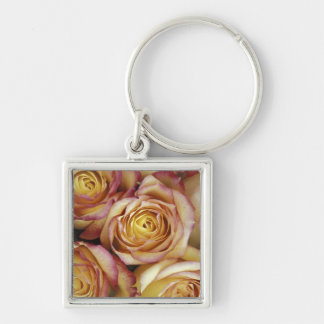 Bouquet of roses Silver-Colored square keychain