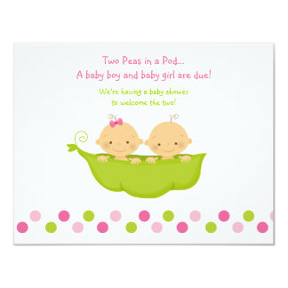 Boy and Girl Twins Peas in a Pod Invitation