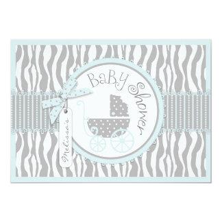 "BOY Baby Carriage, Zebra Print & Blue Baby Shower 5"" X 7"" Invitation Card"
