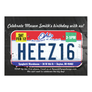 Boy's 16th Birthday Ohio Invitation
