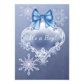 "Boys Blue Snowflake Winter Wonderland Baby Shower 5"" X 7"" Invitation Card"