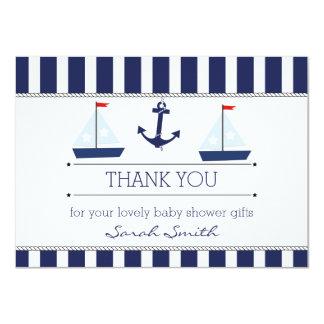 "Boys Nautical Baby Shower Flat Thank You Card 4.5"" X 6.25"" Invitation Card"