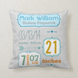 Boy's Nursery Room Baby Stat Arrow Pattern Throw Pillows