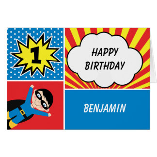 Boys Superhero 1st Birthday Card