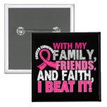 Breast Cancer Survivor Family Friends Faith 2 Inch Square Button