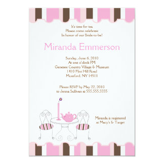"Bridal Shower Tea Party Pink Stripe 5x7 5"" X 7"" Invitation Card"