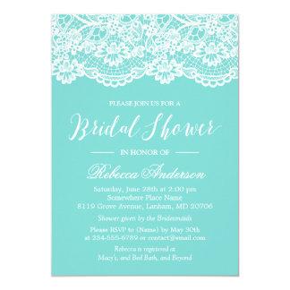 "Bridal Shower Tiffany Blue Elegant Lace Pattern 5"" X 7"" Invitation Card"