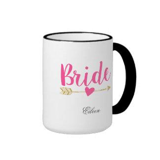Bride Personalized Hot Pink Ringer Coffee Mug