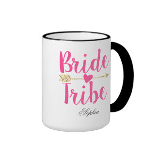 Bride Tribe Personalized Hot Pink Ringer Coffee Mug