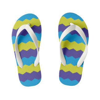 Bright Abstract Waves Kid's Flip Flops