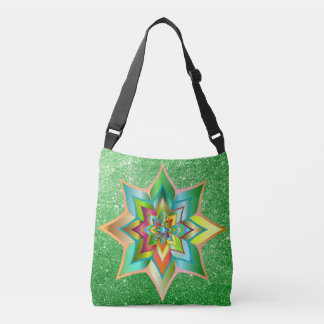 Bright Colorful Floral Green Faux Glitter Tote Bag