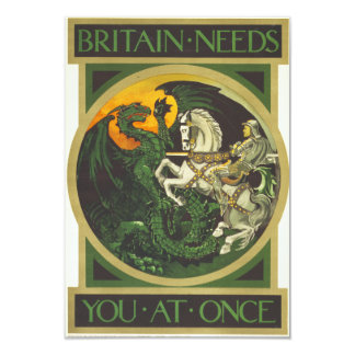"Britain Needs You At Once Dragon vs Knight 3.5"" X 5"" Invitation Card"
