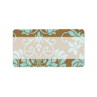 Brown and Tiffany Damask Mailing Address Label