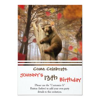 "Brown bear climbing on tree 5"" x 7"" invitation card"