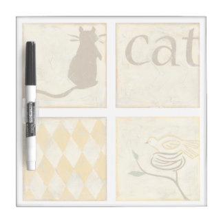 Brown Cat and  Yellow Bird by Chariklia Zarris Dry Erase Board