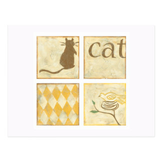 Brown Cat and  Yellow Bird by Chariklia Zarris Postcard