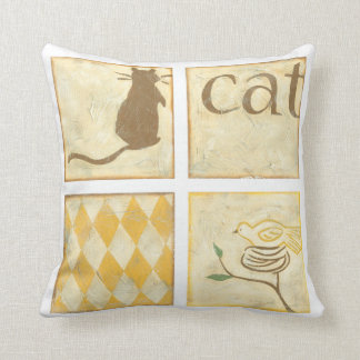 Brown Cat and  Yellow Bird by Chariklia Zarris Throw Pillow