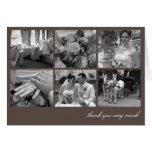 Brown grid collage 6 photos memories thank you note card