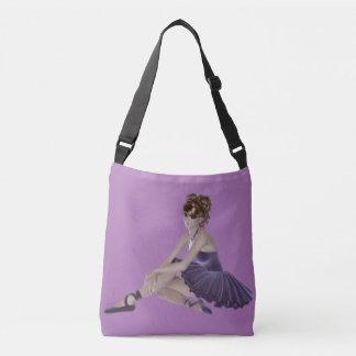 Brown Hair Ballerina All-Over-Print Cross Body Bag