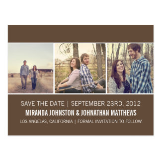 Brown Photo Strip Save The Date Post Cards