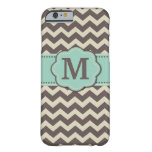 Brown Teal Chevron Monogram Barely There iPhone 6 Case