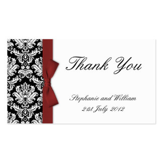 Burgundy Bow Damask Thank You Cards Business Card