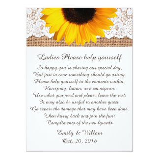 "Burlap and Sunflower Wedding Basket Sign 6.5"" X 8.75"" Invitation Card"