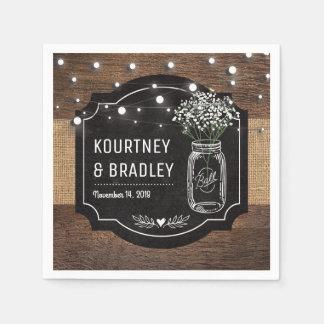 Burlap Baby Breath Wooden Wedding | Mason Jar Paper Napkins