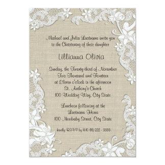"Burlap Baby Christening 5"" X 7"" Invitation Card"