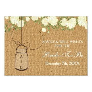 "burlap bridal shower Advice Well Wishes Card 5"" X 7"" Invitation Card"