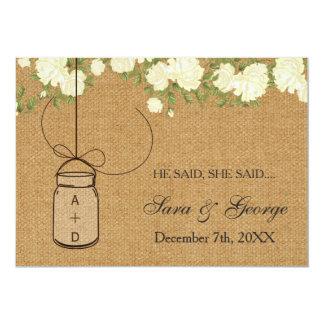 "burlap He said, She said bridal shower game card 5"" X 7"" Invitation Card"