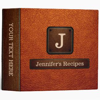 Burnt Orange Elegant Recipe Leather Look Binder