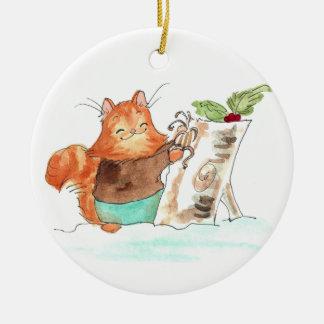 Burt et le rondin de Noël Ornement Rond En Céramique
