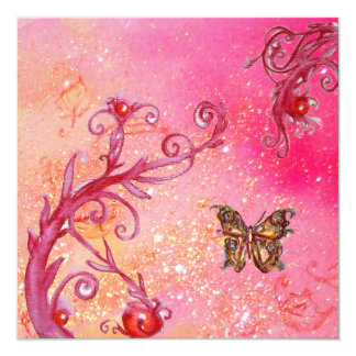 """BUTTERFLY IN PINK SPARKLES 2 Elegant Wedding Party 5.25"""" Square Invitation Card"""