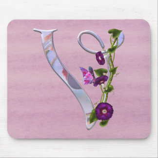 Butterfly Initial V Mouse Pad