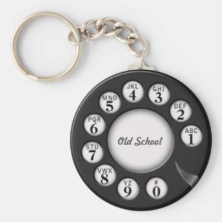 Cadran rotatoire de téléphone de vieille école porte-clé rond